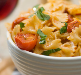 Delicious farfalle pasta dish with wine