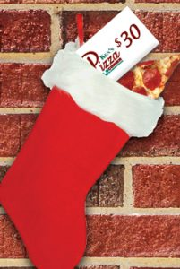 stocking with kens pizza and gift card in stocking